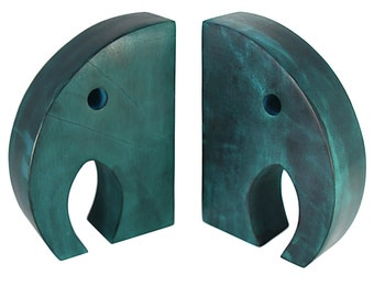 Teal Elephant Book Ends - Stone Bookends - Soapstone - Home Décor - Book Accessories