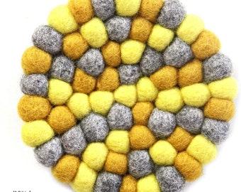 Yellow Felt Ball Trivet - Wool Trivets - Fair Trade - Trivets - Kitchen & Dining