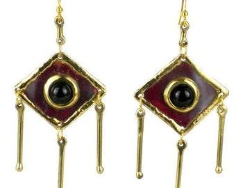 Black Onyx & Brass Diamond Shape Earrings - Boho Earrings - Statement Earrings - Tribal Earrings - Bohemian Jewelry
