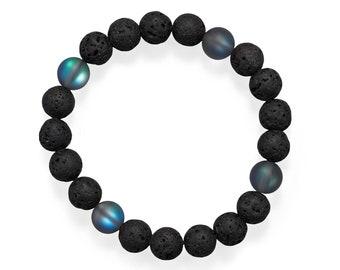 Black Lava & Glass Bead Stretch Bracelet - Boho Bracelet - Men's Bracelet - Mens Jewelry