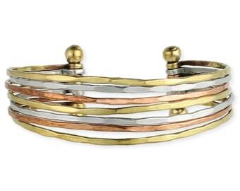 Thin Hammered Mixed Metal Cuff Bracelet - Boho Bracelet - Cuff Bracelet - Bohemian Jewelry
