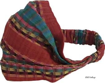 Guatemalan Red Multi Color Striped Headband - Boho Headband - Bohemian Headband - Headbands for Women - Hippie Headband