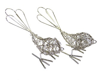 Wrapped Silver Wire Birds Set of 2 - Bird Wire Sculpture - Wire Wrapped - Wire Art