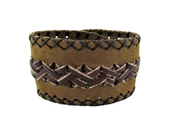 Suede & Leather Cuff Bracelet - Boho Bracelet - Wide Cuff Bracelet - Leather Bracelet - Bohemian Jewelry