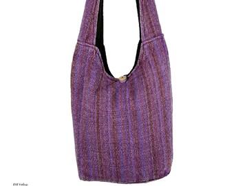 Purple Striped Crossbody Bag - Sling Bag - Boho Bag - Handmade Bag