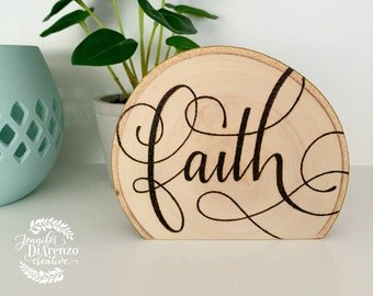 Faith / Faith Standing Sign / Rustic Tiered Tray Decor / Farmhouse Shelf Sitter / Christian Decor / Scripture Sign / Faith Sign / Wood Sign