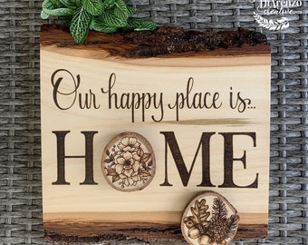 Seasonal Happy Place is Home Sign / Interchangeable Seasons Wood Sign / Rustic Wood Burned Wall Decor / Interchangeable Seasons Wall Hanging