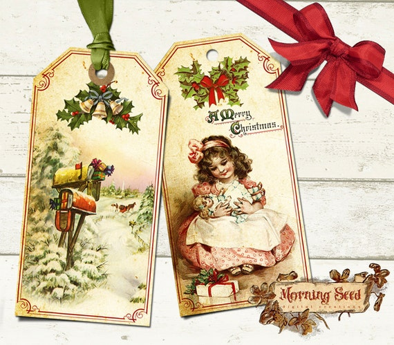 Printable Christmas Gift Tags Set Of Six In Two Sizes 45 X Etsy