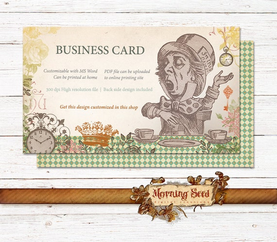 Business Card Template Mad Hatter Cards Alice In