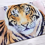 Tiger Canvas Zipper Pouch, Tiger Pouch, Tiger, Canvas Pouch, Canvas Bag, Cosmetic Bag, Travel Pouch, Art Pouch, Art Supply Pouch, Watercolor
