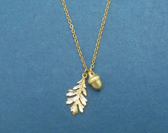 Acorn Necklace,Oak Leaf Necklace,Acorn Pendant,Oak Leaf,Acorn Jewelry,Acorn,Gift for Her,Acorn Charm,Woodland Necklace,Leaf Necklace,Oak
