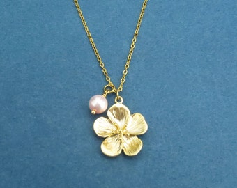 Cherry Blossom, Japanese Sakura, Petals Necklace, Flower, Gold, Silver, Pendant, Blossom Pendant Necklace, Gold Pink Magnolias Flowerm, Gift