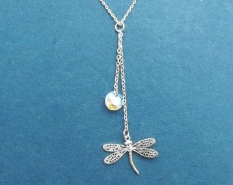 Dragonfly Swarovski Necklace, Dragonfly pendant Necklace, Autumn Necklace, Forest Necklace, Jewelry, Gift, Swarovski Necklace, Gift