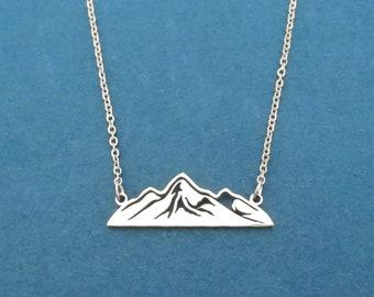 Dainty mountain necklace, silver mountain necklace, gold mountain necklace, mountain jewelry, mountain necklace, wanderlust necklace