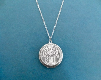 Hamsa necklace, Hamsa locket necklace, Photo locket necklace, Picture necklace, Silver necklace, Gift for family, Gift for her, Gift for him