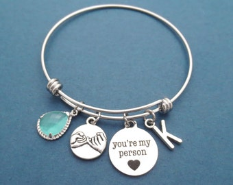 Personalized, Glass, Color, Letter, Initial, You're my person, Pinky promise, Heart, Bangle, Silver, Bracelet, Gift, Jewelry