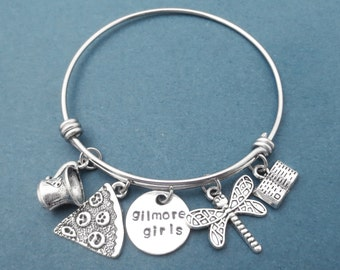 Gilmore girls bracelet Luke's coffee Mug Dragonfly bangle Rory's book Pizza bracelet Adjustable bangle Birthday gift Best friend gift