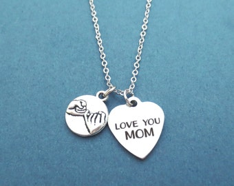 Pinky, Promise, LOVE YOU MOM, Heart, Necklace, Pinky promise, Jewelry, Mother's day, Mom, Gift, Jewelry