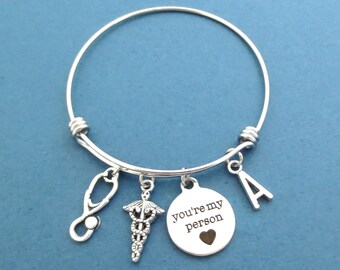 Personalized, Letter, Initial, You're my person, Caduceus, Stethoscope, Silver, Bangle, Bracelet, Gift, Jewelry