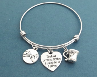 The love between Mother & Daughter is Forever, Heart, Pinky, Promise, Mug, Silver, Bangle, Bracelet, Jewelry, Gilmore, Gift, Jewelry