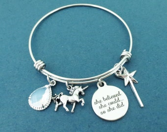 Personalized, Glass, Color, Unicorn, She belived, She could..., So she did, Magic, Wand, Silver, Bangle, Bracelet, Birthday, Gift, Jewelry
