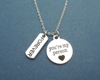 FOREVER, You're my person, Silver, Necklace, Grey's Necklace, Birthday, Lovers, Best friends, Friendship, Gift, Jewelry