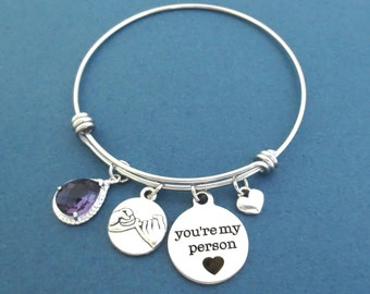 Personalized, Color, Stone, You're my person, Pinky, Promise, Heart, Silver, Bangle, Bracelet, Birthday, Lovers, Best friends, Gift, Jewelry