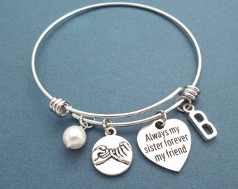 Always my sister forever my friend, Pearl, Personalized, Letter, Initial, Pinky promise, Bangle, Bracelet, Promise, Bangle, Gift, Jewelry