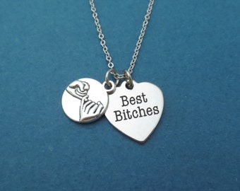 Pinky promise, Best Bitches, Heart, Silver, Necklace, Birthday, Best friends, Friendship, Gift, Jewellery