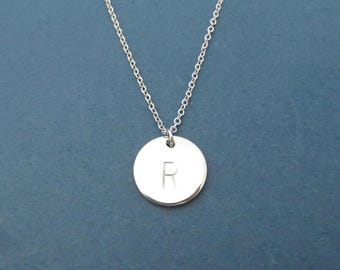Personalized, Hand stamped, Letter, Initial, Disc, Silver, Necklace, Birthday, Best friends, Mom, Sister, Gift, Jewelry