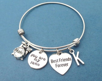 Personalized, Letter, Initial, You are my lane, Best Friends Forever, Drum, Heart, Silver, Bangle, Bracelet, Gilmore, Love, Gift, Jewelry