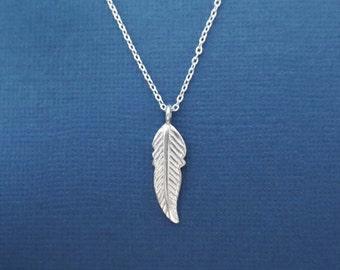 Beautiful, Sterling silver, Bird, Feather, Necklace, Modern, Minimal, Dainty, Jewelry, Birthday, Best friends, Sister, Gift, Jewelry