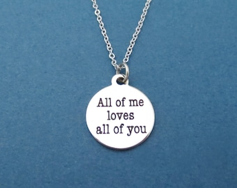 All of me loves all of you, Silver, Necklace, Modern, Love, Necklace, Birthday, Lovers, Best friends, Gift, Jewelry