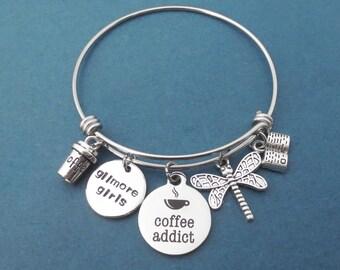 Coffee addict, Gilmore girls, Luke's coffee, Dragonfly, Book, Silver, Bangle, Bracelet, Gilmore, Rory, Lorelai, Gift, Jewelry