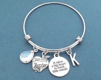 It takes a big heart to teach little minds, Personalized, Stone, Color, Letter, Initial, Special Teacher, Bangle, Bracelet, Gift, Jewelry