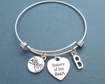 Personalized, Letter, Initial, Pinky, Promise, Sisters of the Heart, Heart, Bangle, Bracelet, Heart, Love, Best friends, Sister, Gift