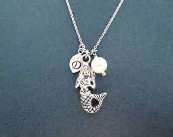 Personalized, Letter, Initial, Mermaid, White, Pearl, Silver, Necklace, Mermaid, Airel, Jewelry, Lovers, Friends, Sister, Gift, Jewelry