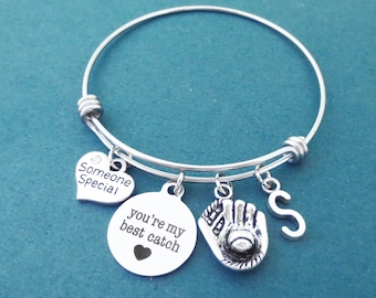 Personalized, Letter, Initial, You're my best catch, Someone Special, Heart, Baseball Gloves, Bangle, Bracelet, Lovers, Best friends, Gift
