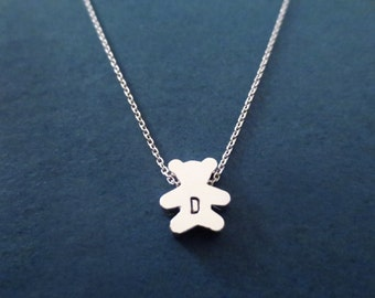 Personalized, Letter, Initial, Teddy, Bear, Silver, Necklace, Cute, Minimal, Animal, Jewelry, Birthday, Best friends, Gift, Jewelry