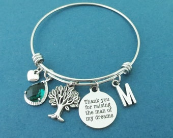 Personalized, Letter, Initial, Custom, Stone, Color, Thank you for raising the man of my dreams, Family, Tree, Heart, Silver, Bangle