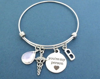 Personalized, Stone, Color and Letter, You're my person, Caduceus, Silver, Bangle, Bracelet, Birthday, Lovers, Valentine, Gift, Jewelry