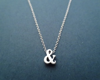 Ampersand necklace Initial necklace Gold necklace Silver necklace Boyfriend necklace Girlfriend necklace Men's gift Women's gift