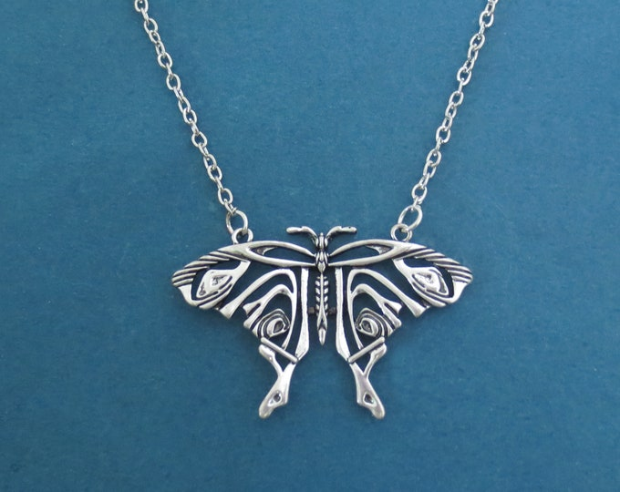 Featured listing image: Silver Butterfly Necklace, Antique Silver Adjustable Necklace, Large Butterfly pendant Necklace, Gift for Mom Grandma Gift Jewelry
