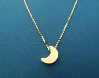 Gold Crescent Moon Necklace, Gold Moon Necklace, Birthday Gift, Friendship Gift, Mother's day Grandma Friendship Gift