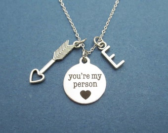 Personalized, Letter, Initial, Cupid, Arrow, Heart, You're my person, Silver, Necklace, Birthday, Lovers, Best friend, Gift, Jewelry