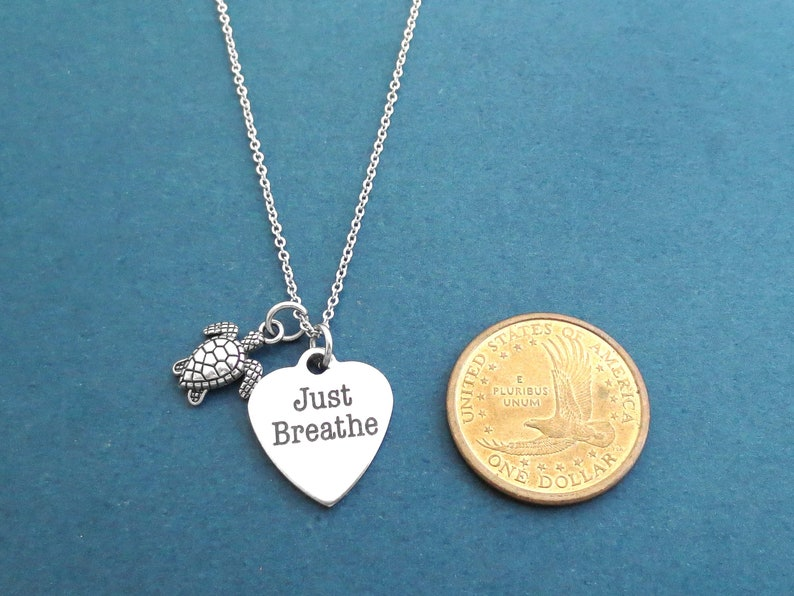 Just Breathe Sister Necklace Best friends Birthday Silver Gift Turtle Jewelry