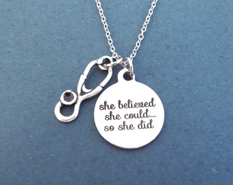 Stethoscope necklace, she believed, she could... so she did necklace, Gift for nurse, Gift for doctor, COVID19 Virus overcome gift