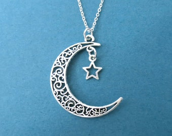 Love you to the moon and back, Crescent, Moon, Star, Silver, Necklace, Moon and star, You and I, Jewelry, Birthday, Lovers, Friends, Gift