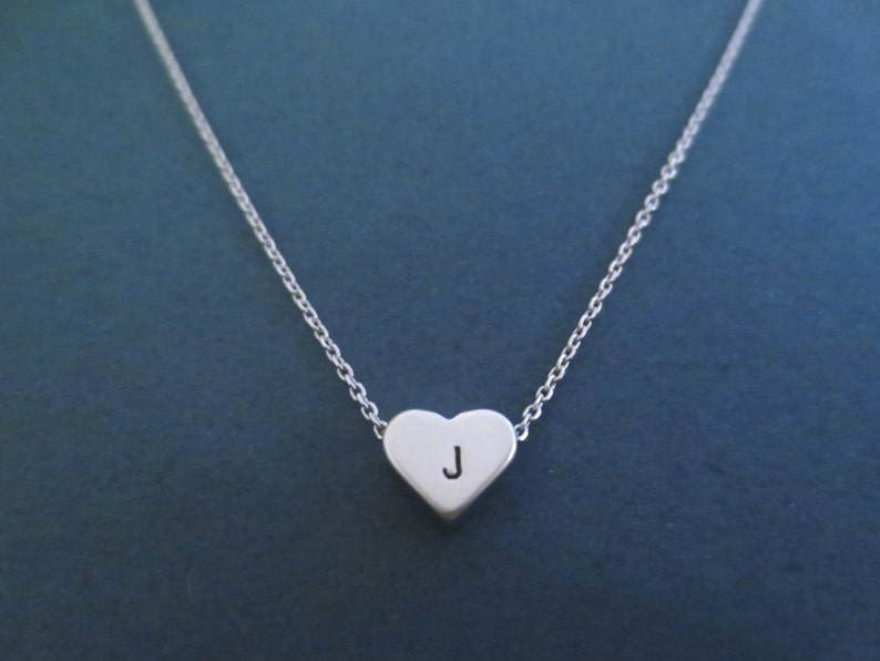 Personalized Letter Initial Heart Silver Necklace Hand image 0