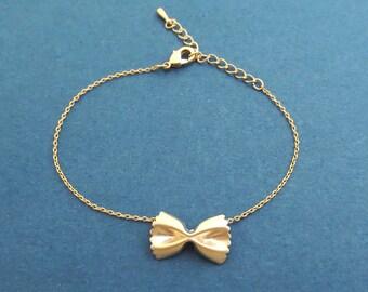 Pasta bracelet Farfalle bracelet Ribbon bracelet Cute gift Minimal gift Mother's day gift Teacher appreciation gift Sister Gift Gift for her